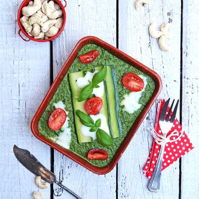 Zucchini (Courgette) Lasagna with Spinach, Basil and Tomato Pesto and Cashew Cream
